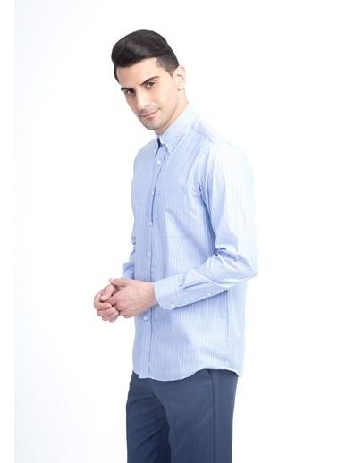 Kiğılı Çizgili Uzun Kollu Gömlek Mavi